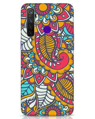 Shop Colorful Floral Pattern Realme 5 Pro Mobile Cover-Front