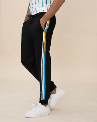 Shop Colorful Stripe Fleece Sports Trim Joggers-Front