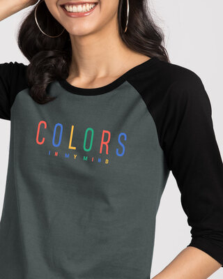 Shop Colors In My Mind 3/4th Sleeve Raglan T-Shirt Black-Nimbus Grey-Front