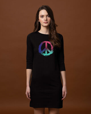 Shop Colors Of Peace Boat Neck 3/4th Sleeve T-Shirt Dress-Front