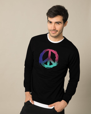 Shop Colors Of Peace Crew Neck Sweatshirt-Front