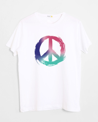 Shop Colors Of Peace Half Sleeve T-Shirt-Front