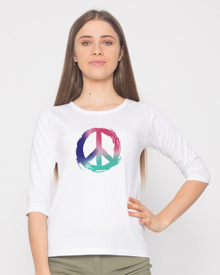 Shop Colors Of Peace Round Neck 3/4th Sleeve T-Shirt-Front