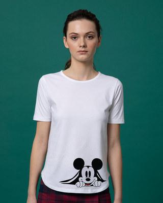 Shop Coming Through Mickey Basic Round Hem T-Shirt (DL)-Front