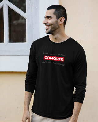 Shop Conquer Strip Full Sleeve T-Shirt Black-Front
