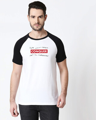 Shop Conquer Strip Half Sleeve Raglan T-Shirt White-Black-Front
