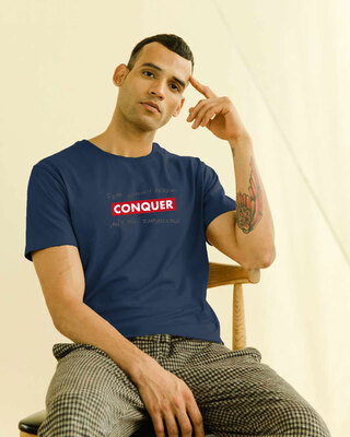Shop Conquer Strip Half Sleeve T-Shirt Navy Blue-Front
