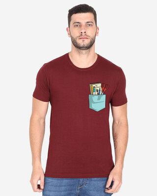 Shop Cooft Pocket design T-Shirt Maroon-Front
