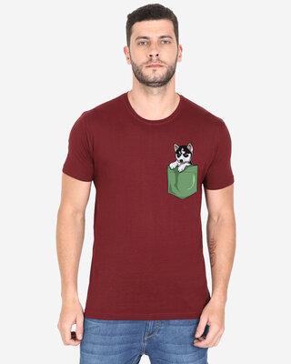 Shop Cooft Pocket design T-Shirt Maronn-Front