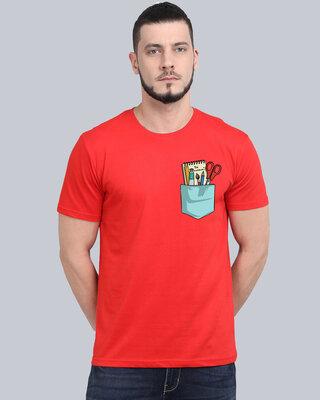 Shop Cooft Pocket design T-Shirt Red-Front