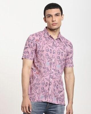 Shop Coral Cloud Summer AOP Half Sleeve Shirt-Front