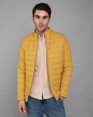 Shop Corn Yellow Plain Puffer Jacket-Front