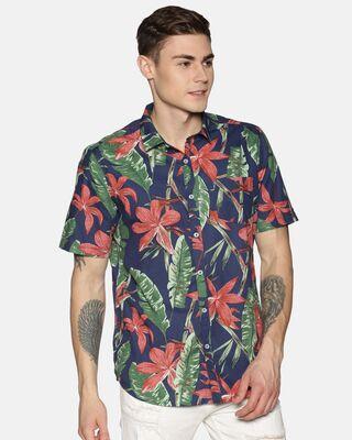 Shop Tusok Men Short Sleeve Cotton Flower Leaf Printed Blue Brown Green Shirt-Front