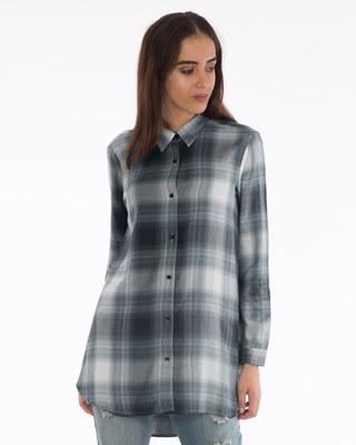 Shop Country Green Boyfriend Shirt-Front