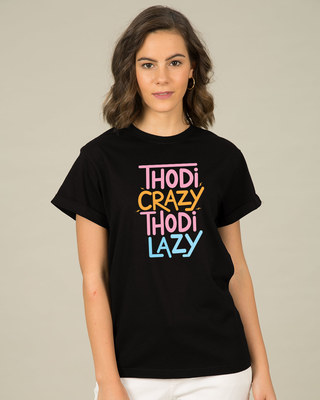 Shop Crazy And Lazy Boyfriend T-Shirt-Front