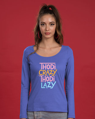 Shop Crazy And Lazy Scoop Neck Full Sleeve T-Shirt-Front