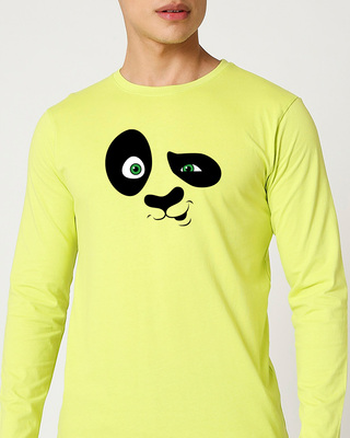Shop Crazy Panda Full Sleeve T-Shirt Neo Mint-Front