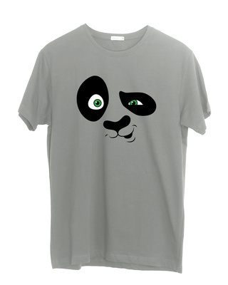 Shop Crazy Panda Half Sleeve T-Shirt Meteor Grey-Front