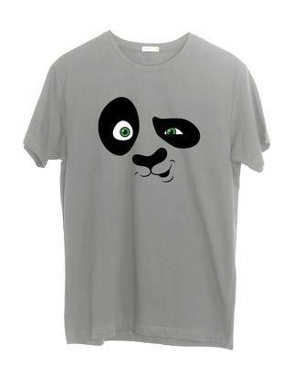 Shop Crazy Panda Half Sleeve T-Shirt Meteor Grey-Front