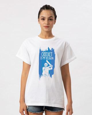 Shop Cricket Is My Religion Boyfriend T-Shirt-Front