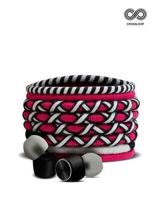 Shop CrossLoop Pro Series Earphone with Mic & Volume Control in Pink & Black-Front