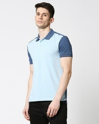Shop Crystal Blue Melange Contrast Shoulder Polo-Front