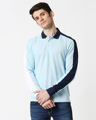 Shop Crystal Blue Shoulder Sleeve Cut & Sew Polo-Front