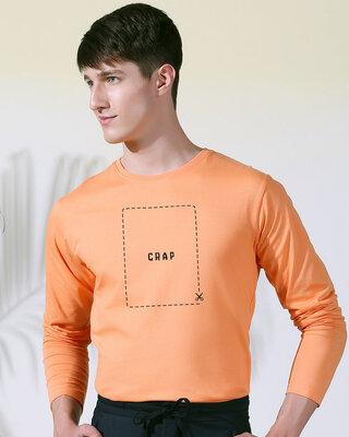 Shop Cut The Crap Full Sleeve T-Shirt Mock Orange -Front