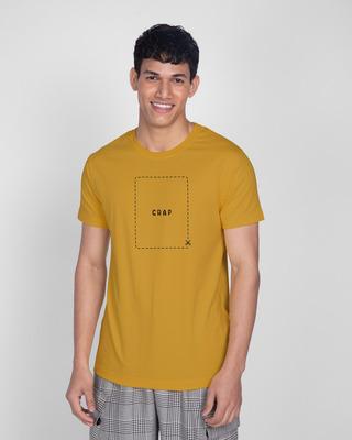 Shop Cut The Crap Half Sleeve T-Shirt Mustard Yellow -Front
