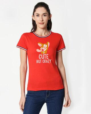 Shop Cute But Crazy Crewneck Varsity Rib H/S T-Shirt (TJL) Multicolor-Front