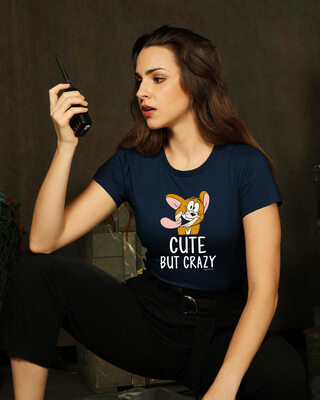 Shop Cute But Crazy Half Sleeve Printed T-Shirt (TJL) Navy Blue-Front