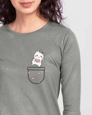 Shop Cute Heart Pocket Round Neck 3/4th Sleeve T-Shirt Meteor Grey-Front