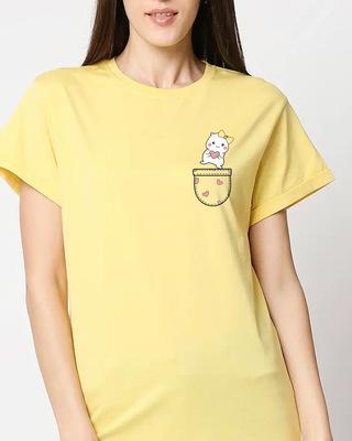 Shop Cute Heart Pocket Women's Printed Boyfriend T-Shirts-Front