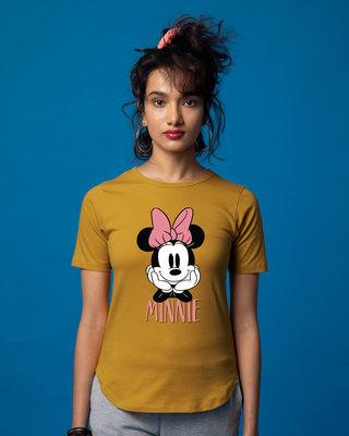 Shop Cute Minnie Basic Round Hem T-Shirt (DL)-Front