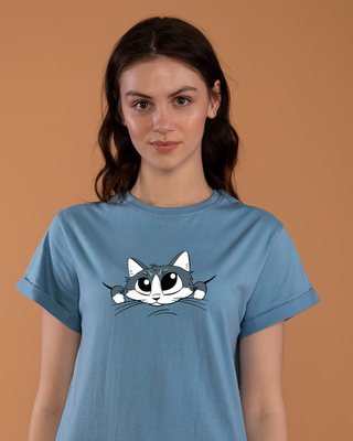 Shop Cute Peeking Cat Boyfriend T-Shirt-Front
