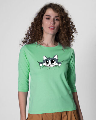 Shop Cute Peeking Cat Round Neck 3/4th Sleeve T-Shirt-Front