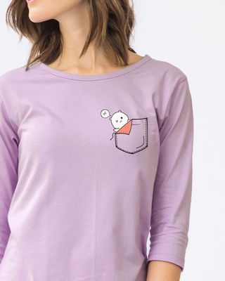 Shop Cute Pocket Hi Round Neck 3/4th Sleeve T-Shirt-Front