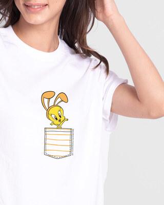 Shop Cute Tweety Pocket Boyfriend T-Shirts (LTL) White-Front