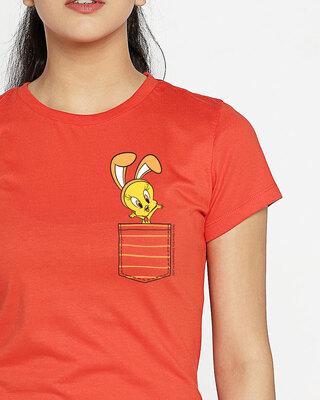 Shop Cute Tweety Pocket Half Sleeve Printed T-shirt  (LTL)-Front