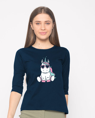 Shop Cute Unicorn Round Neck 3/4th Sleeve T-Shirt-Front