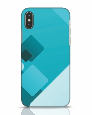 Shop Cyan Blocks iPhone X Mobile Cover-Front