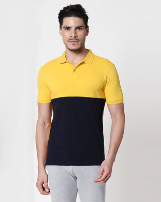 Shop Cyber Yellow-Dark Navy Two Block Polo T-Shirt-Front