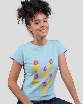 Shop D'amaze Pineaple Placement Printed Round Neck Cotton T-Shirt-Front