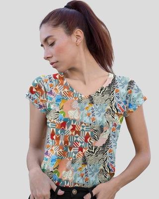 Shop D'amaze Print Collage Printed V-Neck Cotton T-Shirt-Front