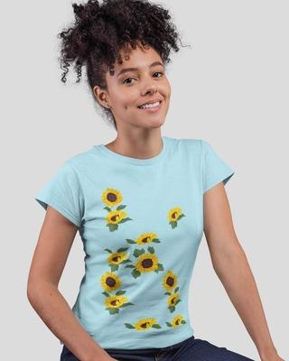 Shop D'amaze Sunflower Placement Printed Round Neck Cotton T-Shirt-Front