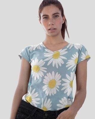 Shop D'amaze Sunflower Shine Printed V-Neck Cotton T-Shirt-Front