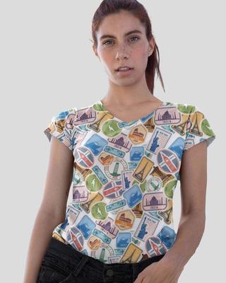 Shop D'amaze Travel Tags Printed V-Neck Cotton T-Shirt-Front