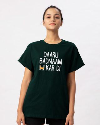 Shop Daaru Badnaam Boyfriend T-Shirt-Front