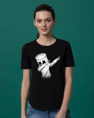 Shop Dab Marshmello Basic Round Hem T-Shirt-Front