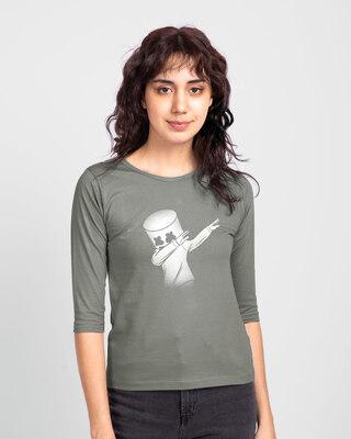 Shop Dab Marshmello Round Neck 3/4 Sleeve T-Shirt-Front
